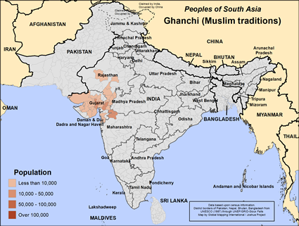 Ghanchi (Muslim traditions) in India map