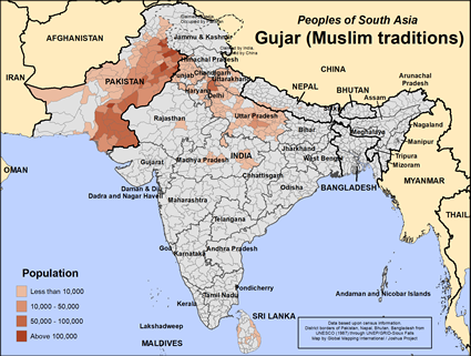 Gujar (Muslim traditions) in India map