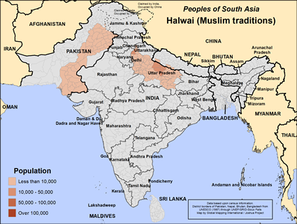 Halwai (Muslim traditions) in Pakistan map