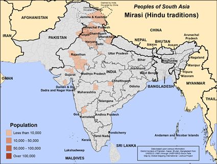 Mirasi (Hindu traditions) in India map