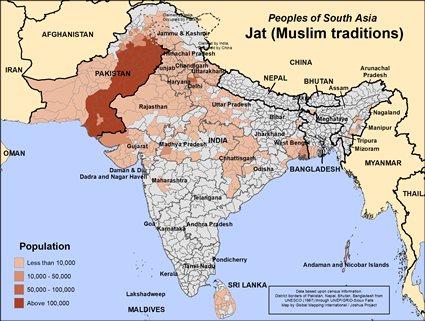 Jat (Muslim traditions) in India map