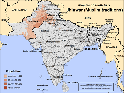 Jhinwar (Muslim traditions) in India map