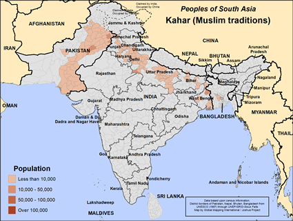 Kahar (Muslim traditions) in India map