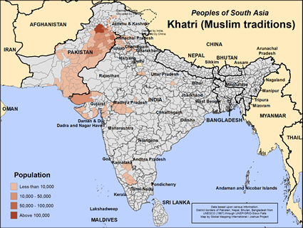 Khatri (Muslim traditions) in Pakistan map