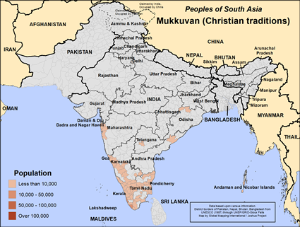 Mukkuvan (Christian traditions) in India map