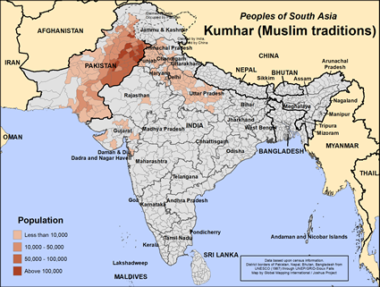 Kumhar (Muslim traditions) in Pakistan map