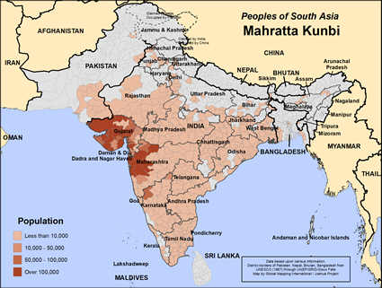 Mahratta Kunbi in India map