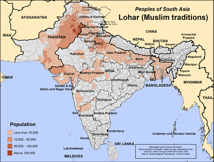 Lohar (Muslim traditions) in India map
