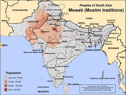 Mewati (Muslim traditions) in India map