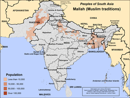 Mallah (Muslim traditions) in India map