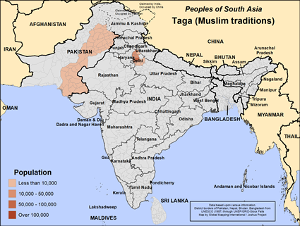 Taga (Muslim traditions) in Pakistan map