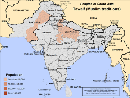 Tawaif (Muslim traditions) in Pakistan map