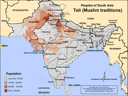 Teli (Muslim traditions) in India map