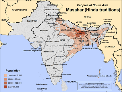 Musahar (Hindu traditions) in India map