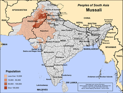 Mussali in India map