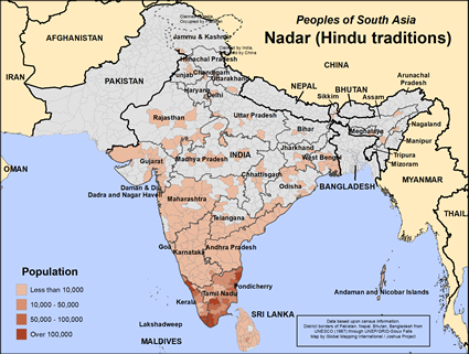 Nadar (Hindu traditions) in India map