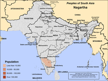 Nagartha in India map