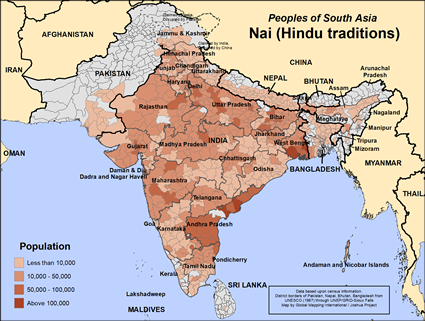 Nai (Hindu traditions) in India map