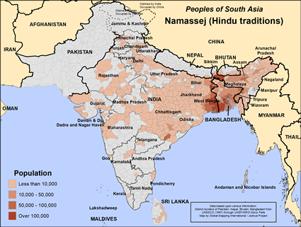 Namassej (Hindu traditions) in India map