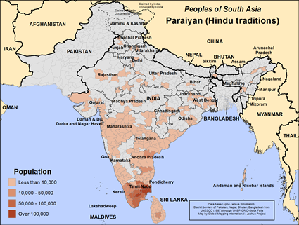 Paraiyan (Hindu traditions) in India map