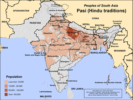 Pasi (Hindu traditions) in India map