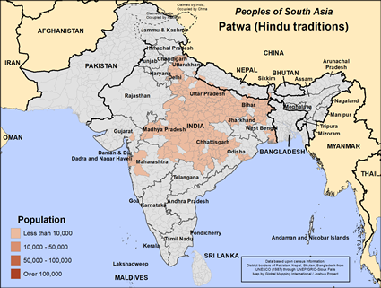 Patwa (Hindu traditions) in India map