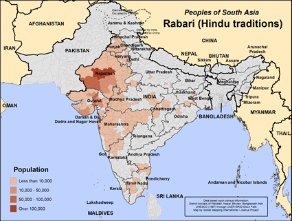 Rabari (Hindu traditions) in India map