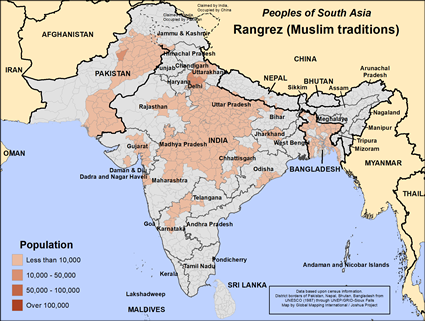 Rangrez (Muslim traditions) in Pakistan map