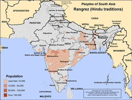 Rangrez (Hindu traditions) in India map