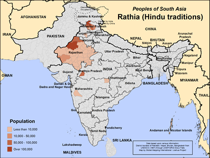 Rathia (Hindu traditions) in India map