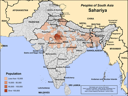 Sahariya in India map