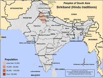 Sirkiband (Hindu traditions) in India map