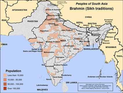 Brahmin (Sikh traditions) in India map