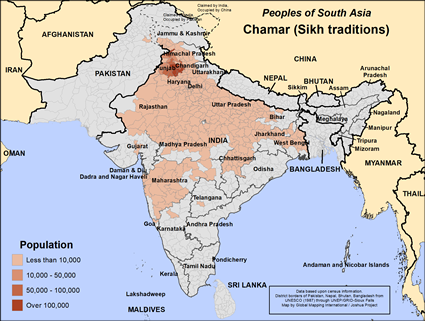 Chamar (Sikh traditions) in India map
