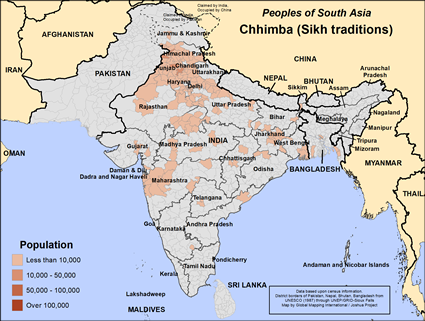 Chhimba (Sikh traditions) in India map