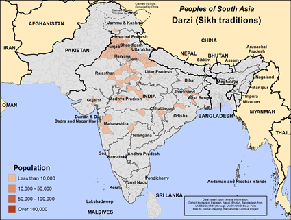 Darzi (Sikh traditions) in India map