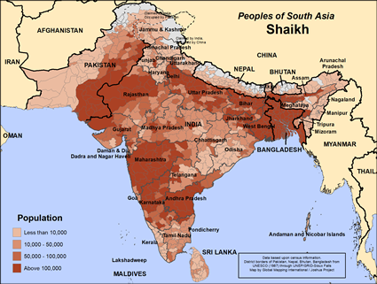 Shaikh in Pakistan map
