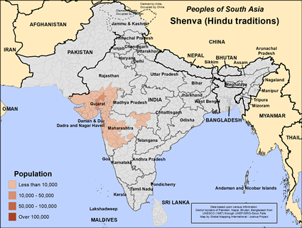 Shenva (Hindu traditions) in India map