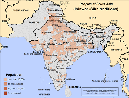 Jhinwar (Sikh traditions) in India map