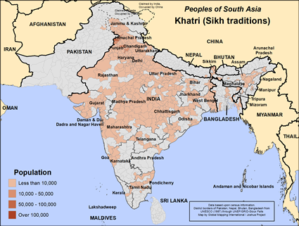 Khatri (Sikh traditions) in India map