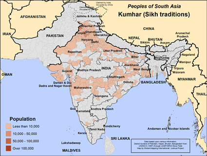 Kumhar (Sikh traditions) in India map