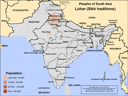 Lohar (Sikh traditions) in India map