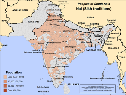 Nai (Sikh traditions) in India map