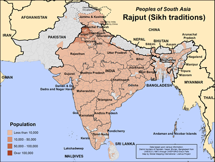 Rajput (Sikh traditions) in India map