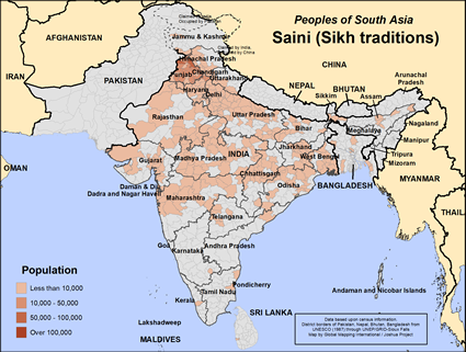 Saini (Sikh traditions) in India map