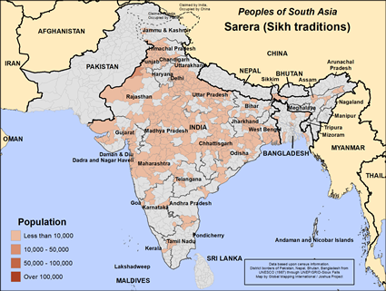 Sarera (Sikh traditions) in India map