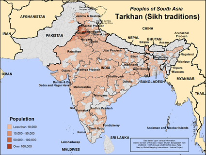 Tarkhan (Sikh traditions) in India map