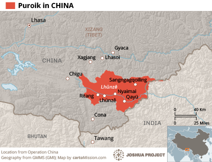 Puroik in China map