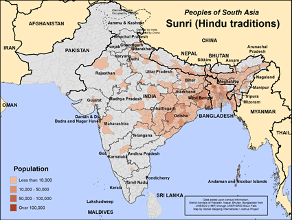 Sunri (Hindu traditions) in India map