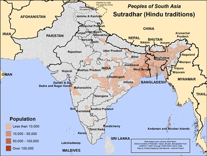 Sutradhar (Hindu traditions) in Bangladesh map